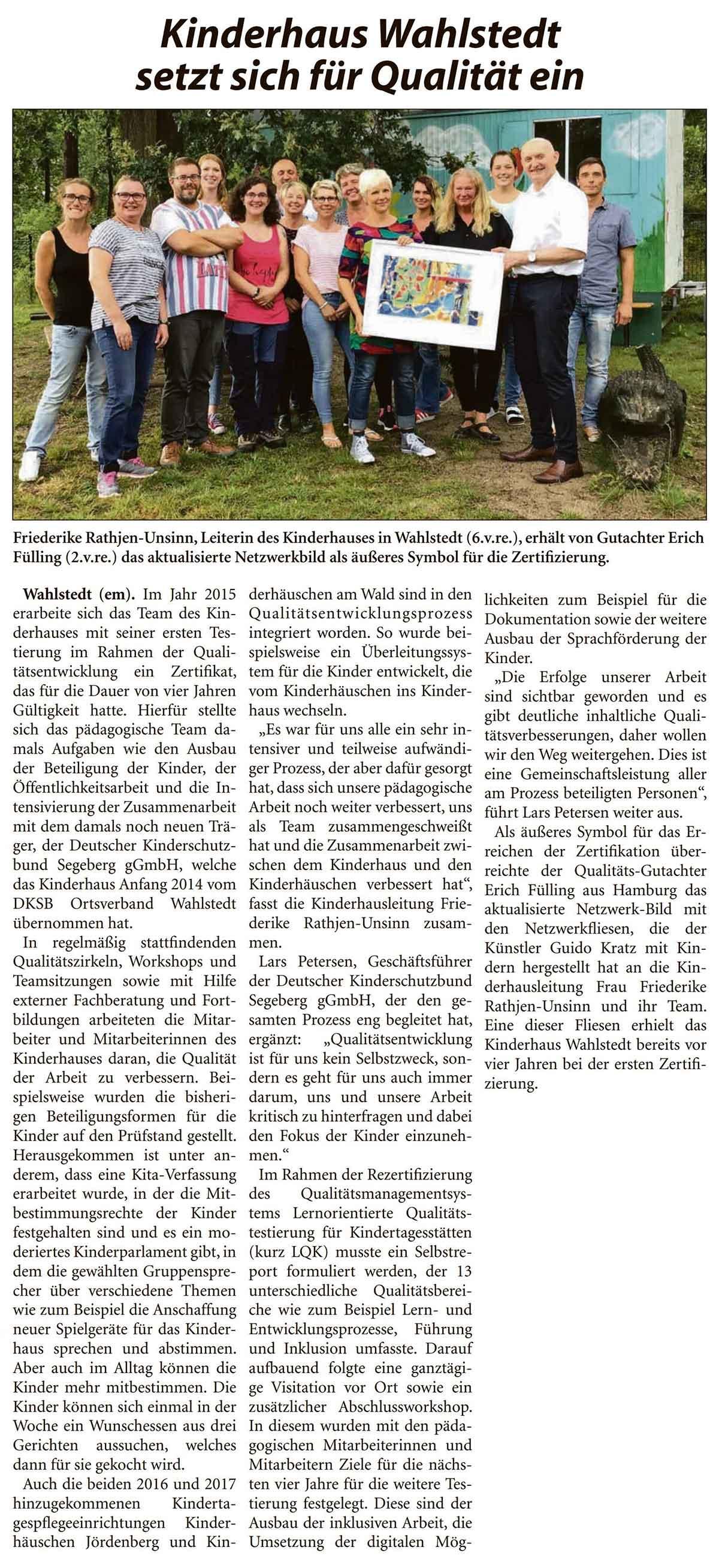 Kinderhaus Wahlstedt setzt sich für Qualität ein