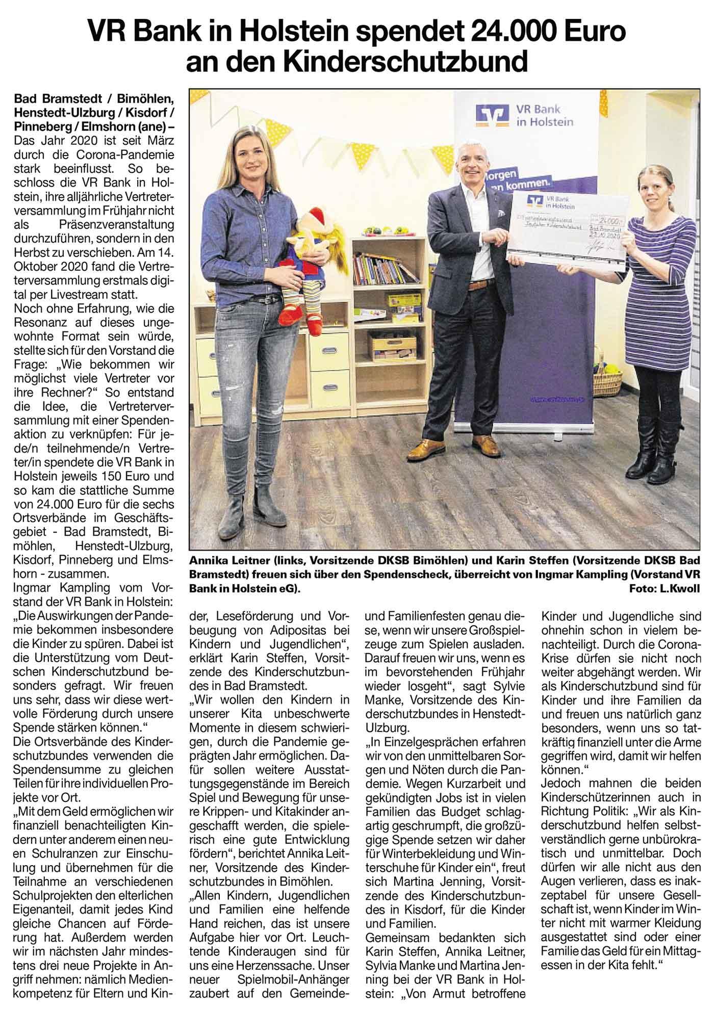 VR Bank in Holstein spendet 24.000 Euro